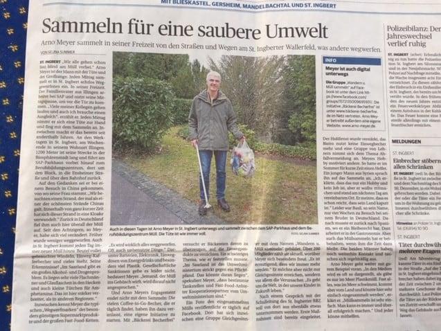 Saarbrücker Zeitung über das Müllwandern